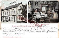 Gruss aus Neumark Sachsen Wettiner Hof Restaurant Litho Postkarte 1905