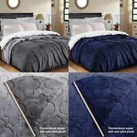 Faux Fur Embossed Fleece Blanket Soft Cozy Bed Sofa Mink Throw Double King Sizes