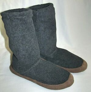 New LL Bean Gray Fleece Slipper Socks Shoes Womens Size 10.5 11.5 Mens 9 10