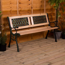More details for garden bench 3 seater cast iron wood outdoor chair seat furniture twin cross