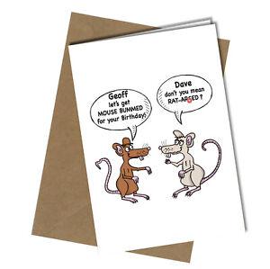 #1175 Let's Get Rat-Ar*ed Birthday Greetings Card Funny Rude
