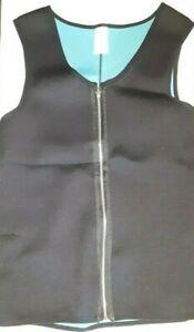 SHAPERS FIT WOMENS SWEAT VEST ZIP UP SLEEVELESS SAUNA JACKET XL BLACK/GREEN uns