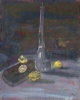 """Russischer Realist Expressionist Öl Leinwand """"Flasche und Zitronen"""" 31 x 25 cm"""