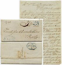PORTUGAL 1843 V.REAL OVAL 25 RATE in BLUE PORTO SMALL LETTER