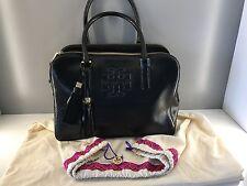 Tory Burch Triple Zip Thea Satchel, Black Patent Leather AUTHENTIC