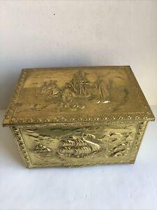 Brass Fireside Trunk Firewood Store Chest Box Vintage Ship Design CS