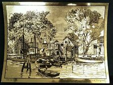 "Old Red Bank by Lionel Barrymore Vintage Etching 12""X9"""