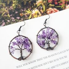 Handmade copper wire wrapped tree of life natural amethyst stone round earrings