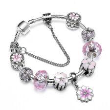 Fashion White Gold Filled Silver Pink Crystal Flower Charm Beaded DIY Bracelet