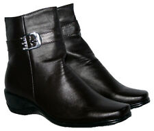 LADIES BROWN WEDGE HEEL ANKLE BOOT WITH SIDE ZIP IN SIZES 3-8