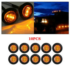 10Pcs 12V 3/4'' Round Amber 3LED Lights Truck Clearance Side Marker Signal Lamp