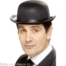 Low Cost Fancy Dress Old England Felt Bowler Hat Black Chaplin Deluxe Fun Posh