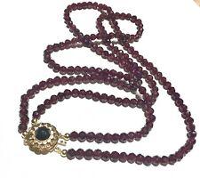 14k RARE BIG Garnet faceted garnet Victorian to Art Deco multi strand necklace