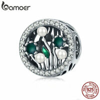 BAMOER Authentic S925 Sterling silver Charm Bead Flowering shrubs For Bracelet