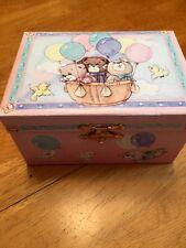 Pink Music Box Childrens Musical Jewelery Box Rectangle TEDDY BEAR Ballerina @