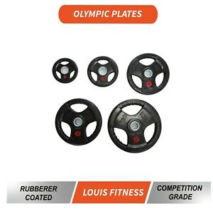 Fitness Olympic 5cm Weights Plates Iron Plate 2.5-10kg Gym Rubber Coated Barbell