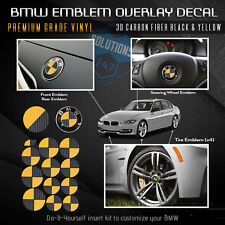 Emblem Decal Package Dual Color Hood Trunk Wheels Fits ALL BMW 3D Carbon Fiber