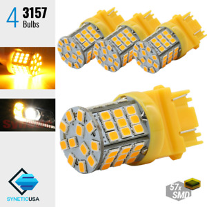 4x 3157/3457 Amber Yellow 57-SMD 325LM Turn Signal Parking DRL LED Light Bulbs