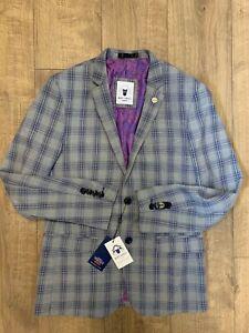 BNWT Marc Darcy JACK Mens Jacket Sports Blazer Silver Navy Check Plaid Size 38
