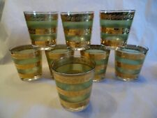 Starlyte Mid Century Green and Gold Set of 6 Old Fashion Whiskey Glasses