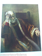 ANTIQUE PRINT C1950S REMBRANDT AN OLD MAN IN THOUGHT COLOUR PRINT ART PAINTING