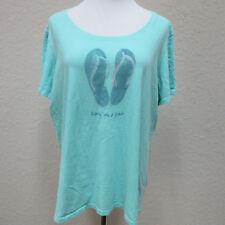 Life is Good Women's XXL Mint Green Living on a Pair Flip Flop T-shirt Tee