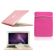 "4 in1 Crystal PINK Case for Macbook Air 11""+Keyboard Cover+LCD Screen+Sleeve Bag"