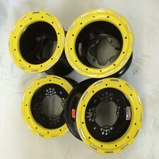 "DWT Champion in Box 10"" Front 8"" Rear Beadlock Rims Yellow Suzuki LTR450 LTZ400"
