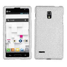 "FOR LG Optimus L9 "" SMARTPHONE CLEAR SILVER WHITE FULL DIAMOND BLING CASE COVER"