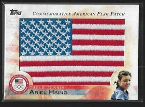 2012 TOPPS OLYMPIC ARIEL HSING FLAG PATCH CARD ~ TABLE TENNIS ~ PING PONG
