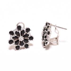 "Brazilian Black Onyx & White Topaz 925 Sterling Silver Earring 0.75"" F2569"