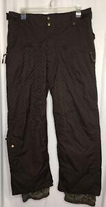 VANS Men's Brown Check Snowboard Ski Pants Fleece Lined Seat/Knee Size XL *