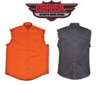 BIKER SHIRT BLACK ORANGE MEN'S MOTORCYCLE CUT OFF SLEEVE SLEEVELESS DENIM