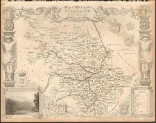 1850 CA Antique County Carte-Mold-Yorkshire, West Riding, Leeds, HUDDERSFIELD, ilkl