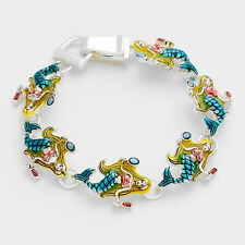 Mermaid Bracelet Magnetic Clasp Bangle Beach SeaLife Jewelry SILVER MULTI Beauty