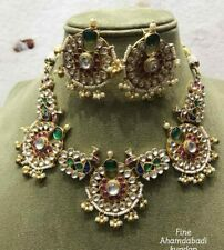 Gold Plated Bollywood Royal Look jewelry Pachi Kundan Choker Necklace Earrings