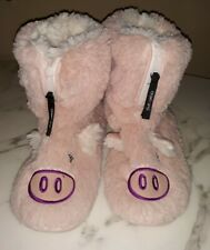 Foot Petals Women's Pink Fuzzy Animal House Shoes Booties Size Medium  (7-8)
