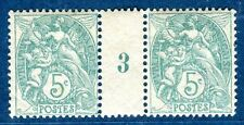Paire N°111 millésime Blanc 1903 avec infime charnière sur le pont timbres neufs