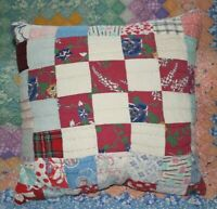 Throw Pillow Made With Vintage Feedsack Postage Stamp Patchwork Quilt 16 Inch