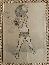 dessin ancien art nouveau lutteur cercle Ibels Toulouse-Lautrec cirque 1900 pub