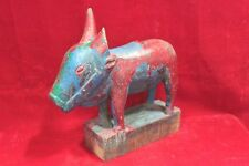 Vintage Indian Handcrafted Wooden Nandi Figure Home Decor Antique PU-84