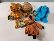 1997 Star Wars Buddies 5'' JABBA SALACIOUS JAWA MAX REBO PLUSH Lot of 4 Kenner