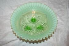Vintage Jefferson / Northwoods Green Opalescent Glass 3 Footed Bowl