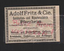 PFORZHEIM, Werbung 1912, Adolf Fritz & Cie. Goldketten-Bijouterie-Fabrik