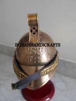 Brass NSW FB Firemen Helmet Antique Fighter Nautical Collectible Memorabilia
