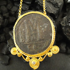 Handmade Designer Huge Genuine Roman Coin Necklace 22K Gold Over Sterling Silver