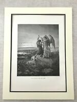 Victorian Angel Picture Jacob Wrestling the Archangel Antique Engraving Print