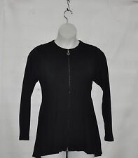Linea by Louis Dell'Olio Zip Front Hi-Low Peplum Jacket Size S Black