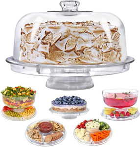 Cake Stand with Dome Cover Lid Multi-Purpose Serving Platter Salad Bowl Dip Tray