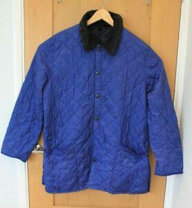 Vintage Mens Barbour Blue Quilted Liddesdale Jacket Coat Size L Large *Flawed*